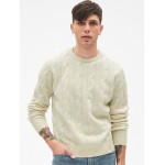 Wool Cable-Knit Pullover Sweater