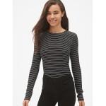 Ribbed Long Sleeve Stripe Crewneck T-Shirt in Modal