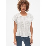 Short Sleeve Tiered Lace-Trim Blouse