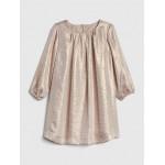 Metallic Shimmer Long Sleeve Dress