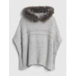 Faux-Fur Trim Cable-Knit Poncho