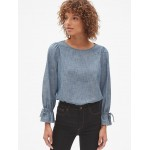 Tie-Sleeve Blouse in Chambray