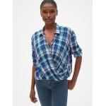 Plaid Wrap-Front Shirt