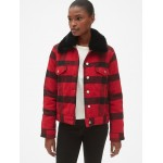 Plaid Icon Jacket with Detachable Faux-Fur Collar