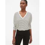 Long Sleeve Stripe V-Neck T-Shirt in Luxe Jersey