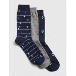 Pattern Crew Socks (3-Pack)
