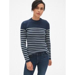 Stripe Button-Shoulder Pullover Sweater