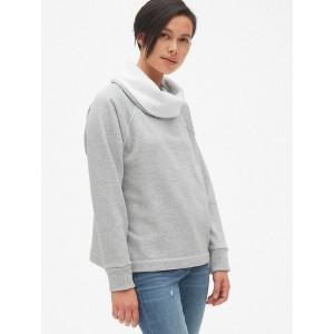 Faux-Fur Lined Funnel-Neck Pullover Sweatshirt