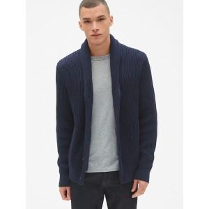 Ribbed Shawl Cardigan Sweater