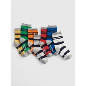 Stripe Days-of-the-Week Crew Socks (7-Pack)