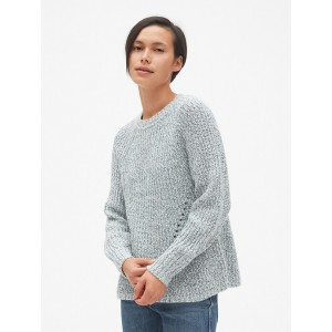 Marled Pointelle Crewneck Pullover Sweater