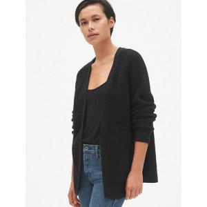 Relaxed Pointelle Open-Front Cardigan Sweater