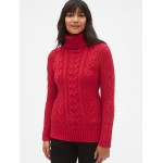 Cable-Knit Turtleneck Tunic Sweater