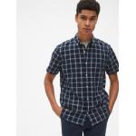 Standard Fit Short Sleeve Shirt in Linen-Cotton