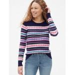 Fair Isle Stripe Pullover Crewneck Sweater