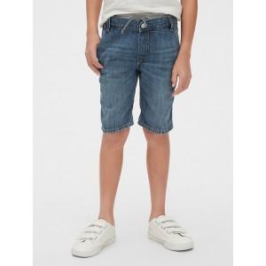 Ribbed-Waist Denim Shorts