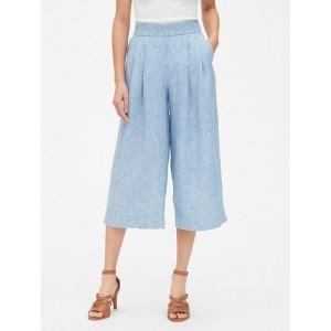 High Rise Wide-Leg Crop Pants in Pure Linen