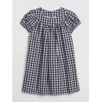 Gingham Puff-Sleeve Dress
