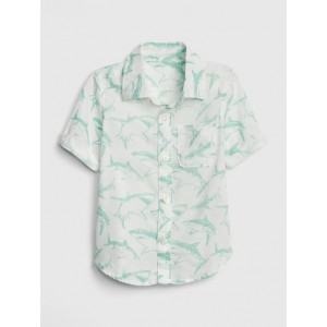 Print Short Sleeve Shirt in Linen