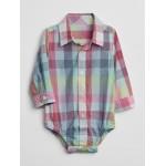 Plaid Long Sleeve Shirt Bodysuit