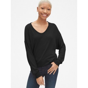 Softspun Long Sleeve Top with Smocked Cuffs