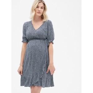 Maternity Ruffle Print Wrap Dress