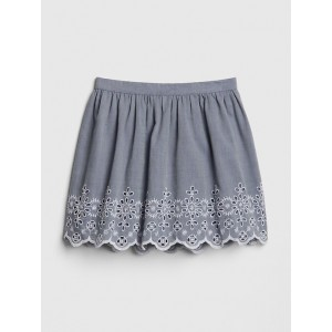 Chambray Eyelet Flippy Skirt