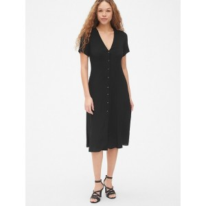 Fit and Flare V-Neck Button-Front Midi Dress