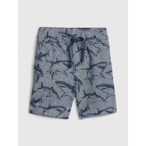 Print Pull-On Shorts in Linen