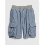 Pull-On Cargo Shorts in Poplin