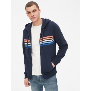 Vintage Soft Chest-Stripe Full-Zip Hoodie