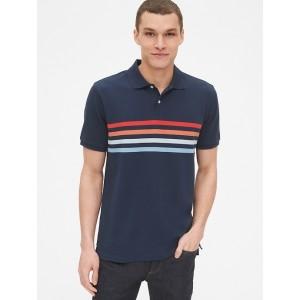 Short Sleeve Stripe Pique Polo Shirt in Stretch