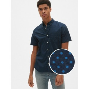 Short Sleeve Print Poplin Shirt in Stretch
