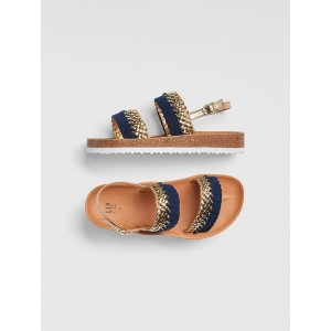 Braided Metallic Cork Sandals