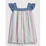 Chambray-Trim Stripe Ruffle Dress