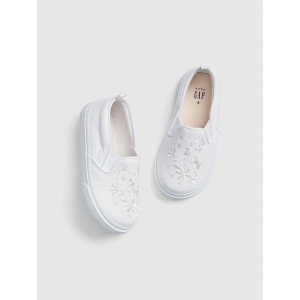 Embroidered Slip-On Sneakers
