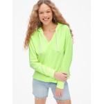 Split-Neck Pullover Hoodie Sweatshirt in French Terry