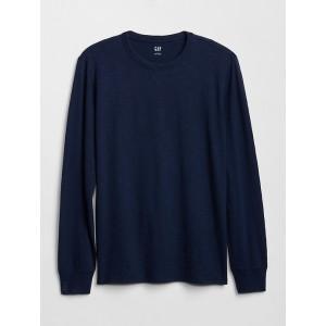 Casual Long Sleeve Crewneck T-Shirt in Slub Jersey