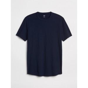 Curved-Hem T-Shirt in Slub Jersey