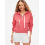 Vintage Soft Lace-Up Pullover Hoodie