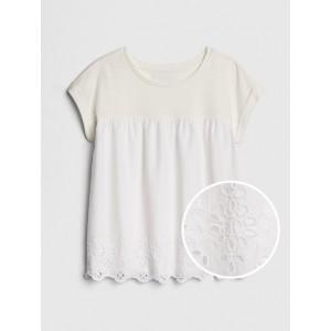 Eyelet Mix-Fabric T-Shirt
