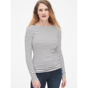 Modern Stripe Long Sleeve Boatneck T-Shirt