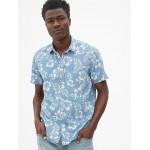 Print Denim Short Sleeve Shirt