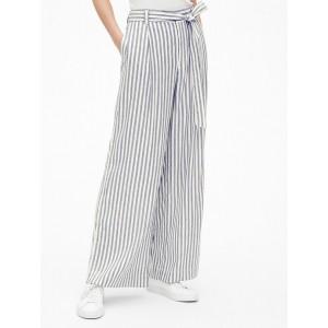 High Rise Tie-Belt Stripe Wide-Leg Pants