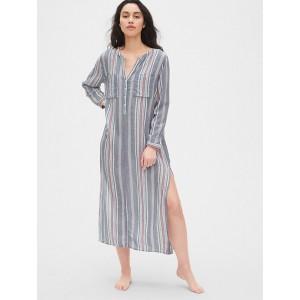 Dreamwell Crinkle Stripe Maxi Shirtdress