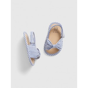 Stripe Bow Sling Sandals