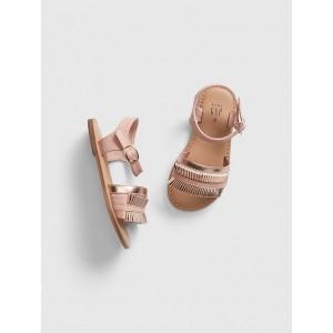 Metallic Pleated Sandals