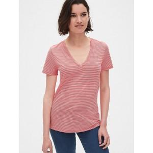 Vintage Wash Stripe V-Neck T-Shirt