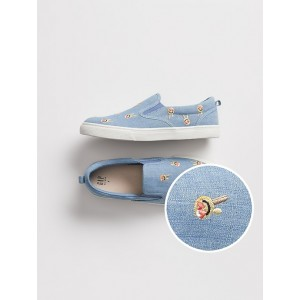 Kids Embroidered Chambray Slip-On Sneakers