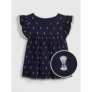 Baby Embroidered-Dot Flutter Top